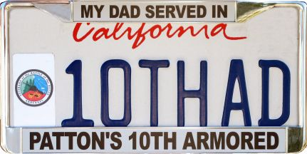 10th Armored Division license plate